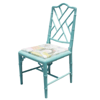 Vintage Faux Bamboo Chinese Chippendale Chair | Chairish