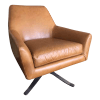 Mid Century Swivel Leather Chair | Chairish