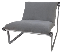 Mid-Century Modern Gray Sling Chair | Chairish