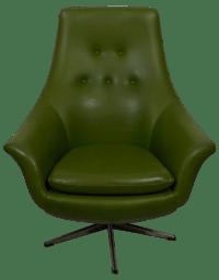 1960's Mid-Century Mod Olive Green Swivel Chair | Chairish