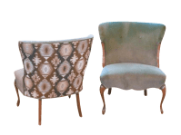 Gray Velvet Patterned Back Accent Chairs - Pair | Chairish