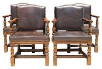 Spanish Style Leather Chairs - Set of 4 | Chairish