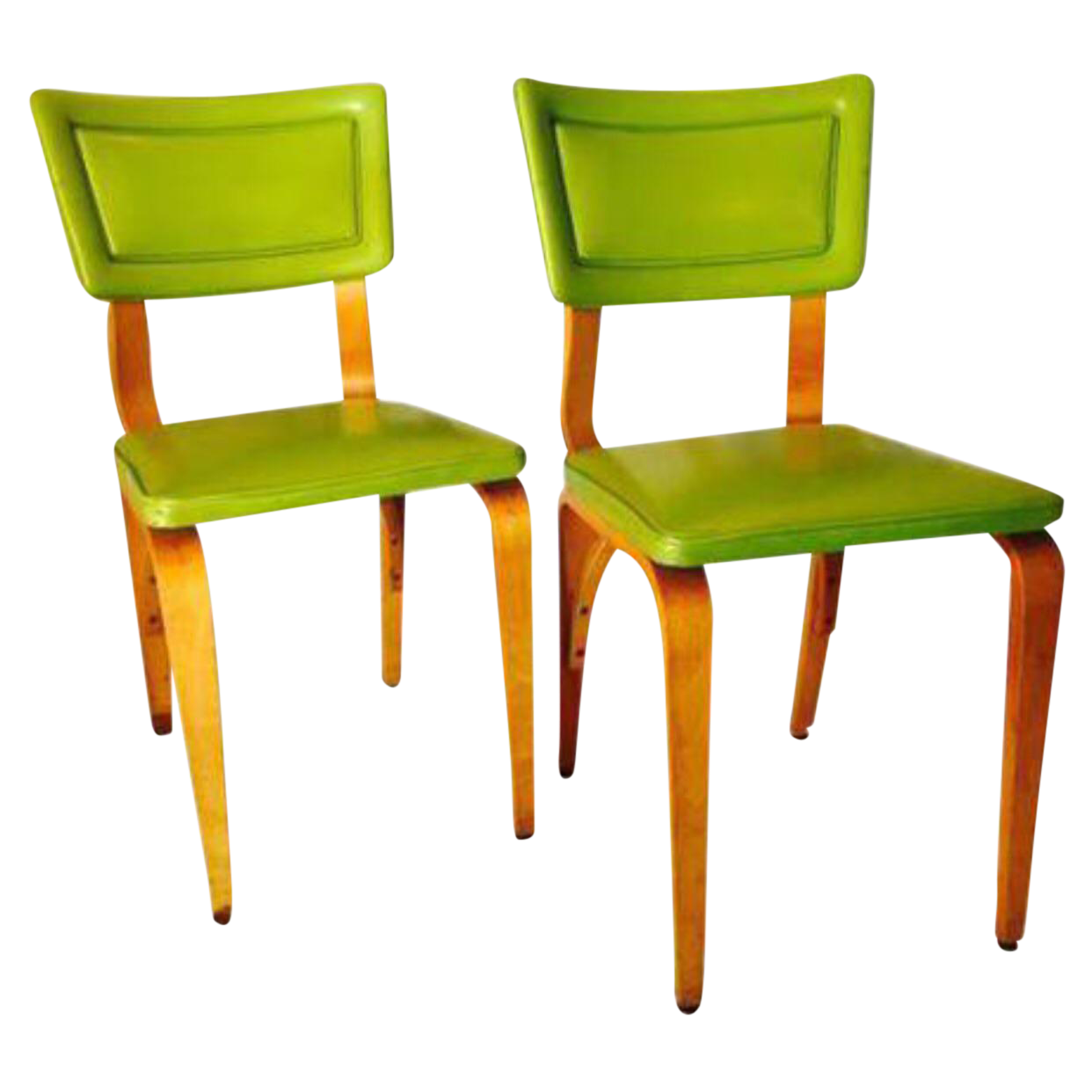 Lime Green Upholstered Thonet Dining Chairs  a Pair