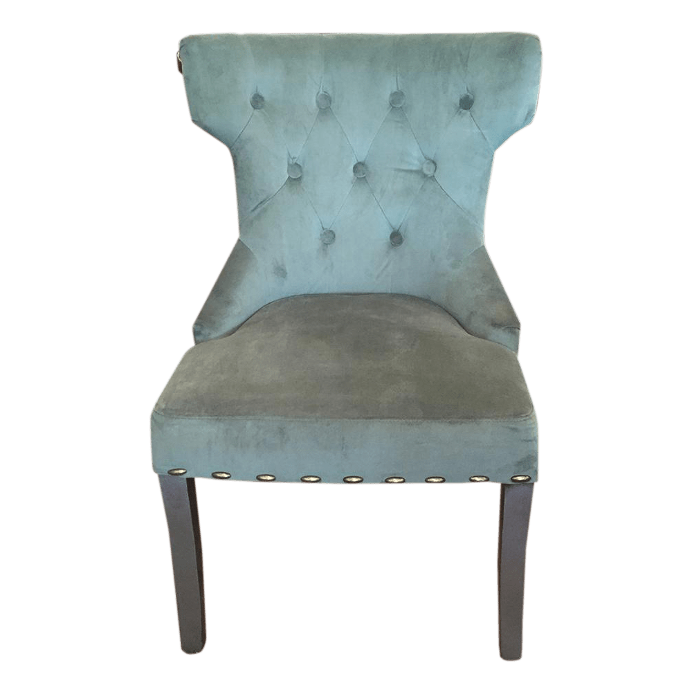 Tufted Teal Ultra Suede Accent Chair  Chairish