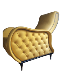 Mid-Century Yellow Leather Recliner | Chairish