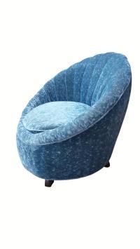 Scalloped Swivel Chair in Dark Teal | Chairish