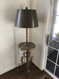 Antique Brass & Marble Floor Lamp | Chairish