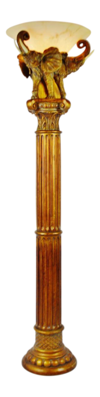 Vintage Grecian Inspired Elephant Torchiere Floor Lamp