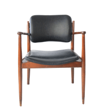 Vintage Mid-Century Modern Black Leather Chair   Chairish