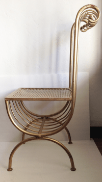 1950's Hollywood Regency Gold Gilt Vanity Chair | Chairish