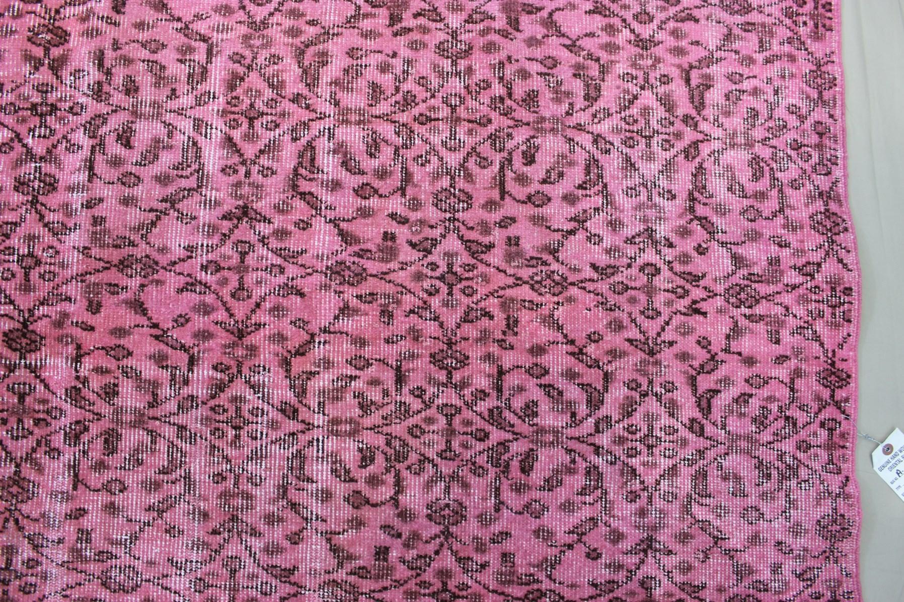 1940s Pink Overdyed Turkish Rug