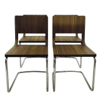 Mid-Century Italian Chrome Dining Chairs - S/4 | Chairish