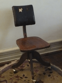 Industrial Steampunk Oak & Leather Office Chair | Chairish
