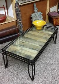 Rustic Glass Top Coffee Table with Wood | Chairish
