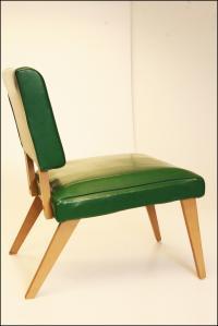 Mid-Century Modern Green Vinyl Slipper Chair | Chairish