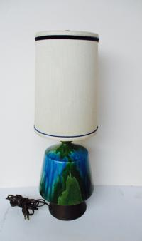 Mid-Century Modern Turquoise Ceramic Table Lamp | Chairish