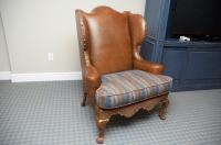 Century Leather Wingback Chair W/ Nailhead Trim | Chairish
