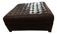 Tufted Square Leather Ottoman | Chairish