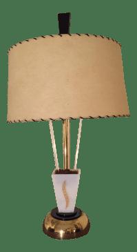 Vintage Moss Lucite Lamp with Fiberglass Shade | Chairish