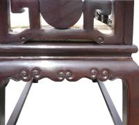 Chinese African Tan Rosewood Marble Stone Chairs and Table
