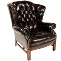 Vintage Wing Back Leather Tufted Chair | Chairish
