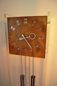 Mid-Century Burlwood & Lucite Grandfather Clock | Chairish