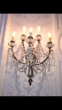 Antique Bronze & Crystal Wall Sconces - A Pair | Chairish