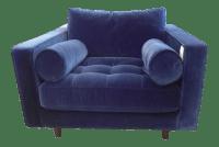 Navy Blue Velvet Armchair | Chairish