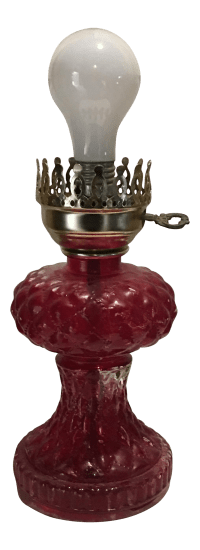 Cranberry Depression Glass Table Lamp | Chairish