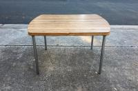 Vintage Dining Table With Chrome Legs and Leaf Extension ...