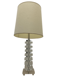 Mid-Century Modern Stacked Lucite Table Lamp | Chairish