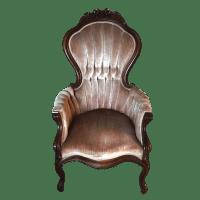 Victorian Velvet & Hand Carved Wooden Accent Chair | Chairish
