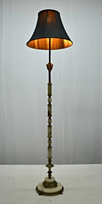 Art Deco Onyx And Brass Floor Lamp | Chairish
