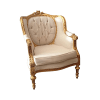 French Louis XVI Style White & Gold Chair | Chairish