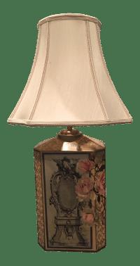 Floral Decoupage Table Lamp   Chairish