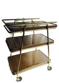 Mid-Century Atomic Age Three-Tiered Bar Cart   Chairish