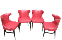Mid-Century Modern Red Wing Back Chairs - Set of 4 | Chairish