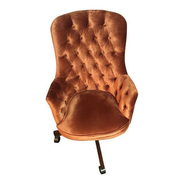 swivel chair no castors 24 inch velvet tufted desk   chairish