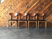 Mid Century Danish Style Refinished Walnut Vinyl Dining ...