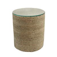 Round Seagrass Rope Side Table   Chairish