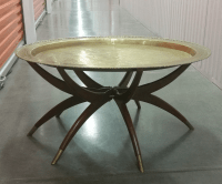 Mid-Century Brass Top Moroccan Style Coffee Table | Chairish