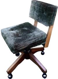 Mid-Century Green Velvet Swivel Chair | Chairish