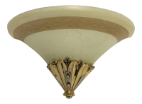 Brass & Frosted Glass Wall Sconce | Chairish