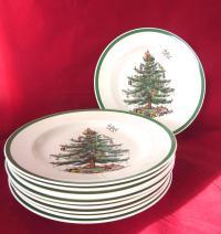 Spode Christmas Tree Dinner Plates - Set of 10 | Chairish