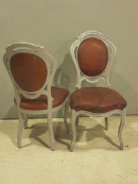 Antique Art Nouveau Wood & Leather Chairs - Pair | Chairish