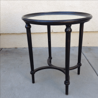 Round Chinoiserie Mirror Accent Table | Chairish