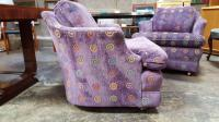Barrel Back Purple Upholstered Lounge Chairs- A Pair ...