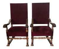 Carved Italian Red Velvet Throne Chairs - A Pair | Chairish