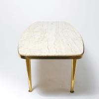 Mid-Century Brass & Travertine Coffee Table   Chairish