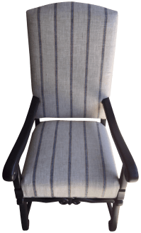 Blue & Beige Striped Accent Chair | Chairish